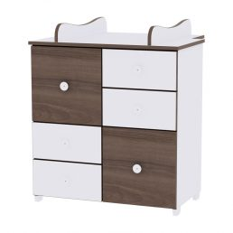 Bertoni Cupboard alb/coffee - comoda cu 6 sertare